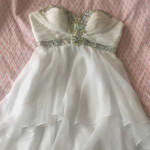 Cute dress with green and blue rhinestones